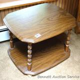 Wooden rolling end table is 19-1/2