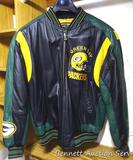 Leather Green Bay Packer lined jacket is size L. in like new condition.