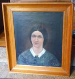 Wooden framed portrait is signed Bettie Stout dated 1896.