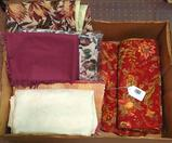 Fifteen pieces of rugs, table runners, placemats, patio table cover, more.