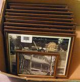 Ten framed photographs believed to be promotionals from Oneida Cedar Log Homes, Inc. Good for