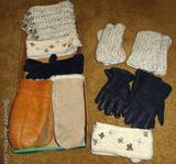 Leather chopper mittens; leather dress gloves; crocheted fingerless gloves; more.