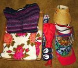 Ladies Croft & Barrow size L cardigan sweater; Floral pattern sweater, similar size; umbrellas,