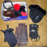 Leather mittens with fur trim; work gloves; ear muffs;