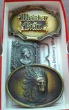 Three belt buckles. Meister Brau buckle is marked 1980 and is 3-1/2