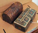 Two solid wood trinket boxes are approx. 10