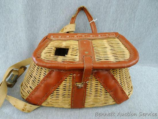 """Fly fishing creel or basket is 15"""" x 7"""" x 6"""". Some straps and latch need repair."""