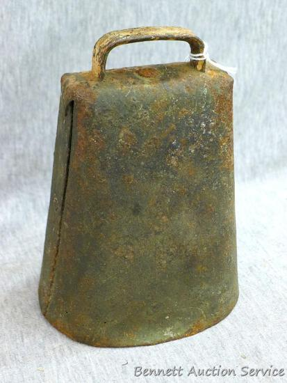 """Metal cow bell is 4-1/2"""" x 6"""". Clapper has been replaced but sounds great."""