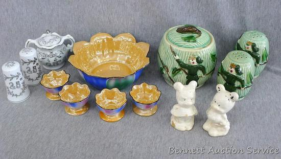 Salt and pepper shakers, bowls made in Japan, more. Cream colored shakers may have been Mickey and