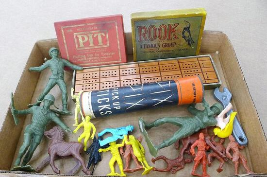 """Vintage Pit, Rook, Pick Up Sticks, and cribbage; Army men and pirates, more. Cribbage board is 11"""""""