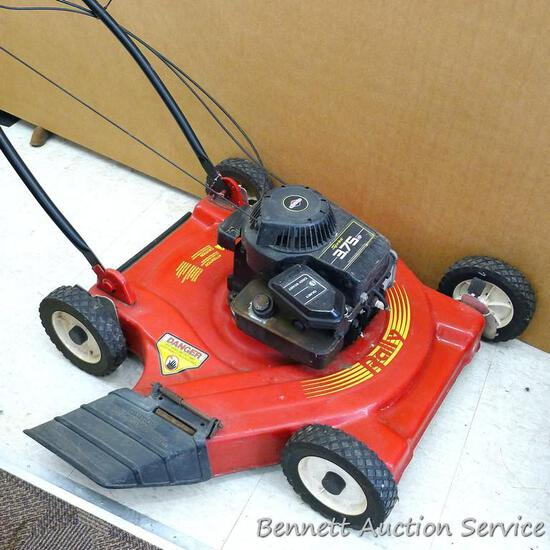 """Rally lawn mower has a 3.75 HP Briggs & Stratton Sprint engine and a 22"""" deck. Gas tank is dry, so"""