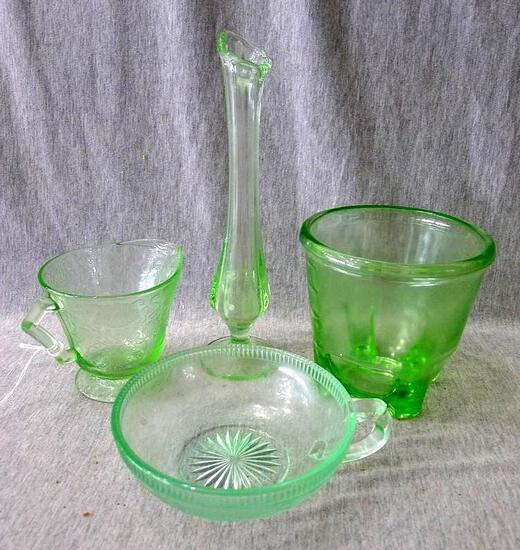 """Green glass vase, cream cup, 2 cup beater jar, and small dish. Hazel Atlas beater jar is 4-1/2"""""""