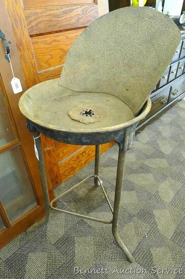 """Cast iron forge with Champion Blower. Forge body measures 19"""" and is good, no cracks noted. Blower"""