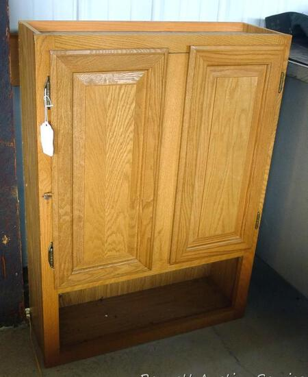 """Wall mountable cabinet is about 24"""" x 9"""" x 33"""" high. Great for the craft room."""