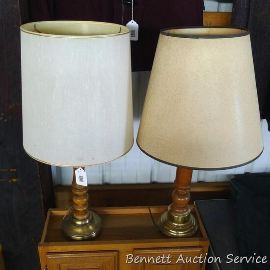 """Two table lamps. One lights up, other may just need new bulb. 29"""" to top of shade. Spots noted on"""