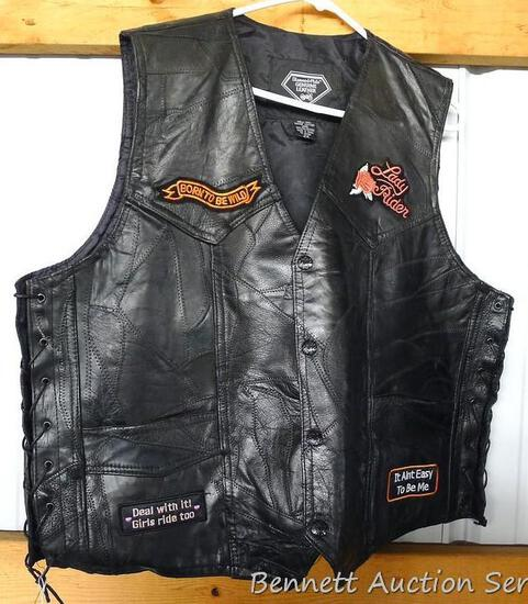 Genuine leather Diamond Plate women's bikers vest is size 2XL. Vest is in good condition with