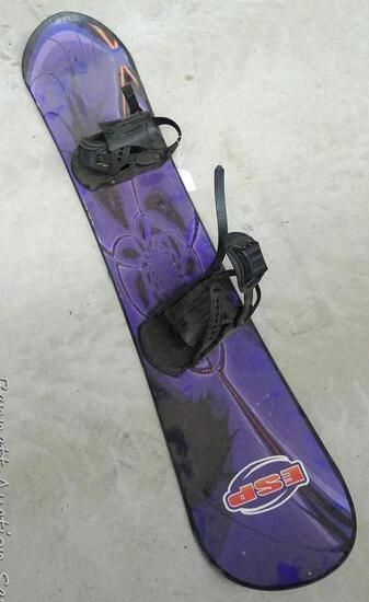 """ESP snowboard is about 58"""" long, looks to be in good condition. Bindings are 10-1/4"""" from toe strap"""