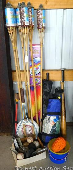 """The ultimate summer or camping lot includes 6 NIP tiki torches, Lasso Golf, Frisbee, 84"""" bird kite"""