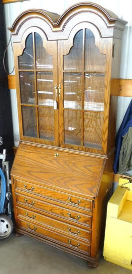 """Fold out desk with lighted display cabinet. Has dovetailed drawers, stands about 34"""" x 16"""" x 81"""""""