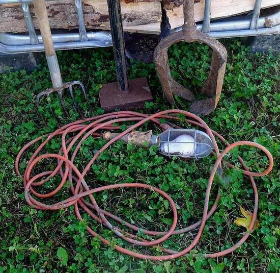 """Garden fork/cultivator; ground tamper with 4"""" x 6"""" base and 48"""" handle; trouble light; steel hole"""