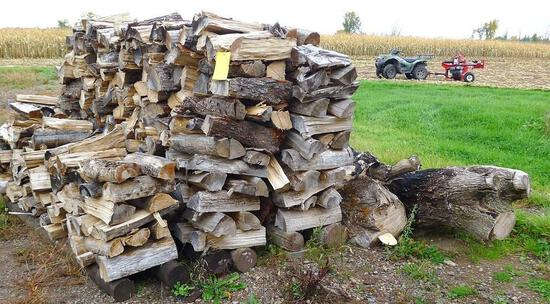Cut and split hardwood firewood stacked outside and easy to access. Pile is approx. 8' wide x 4'