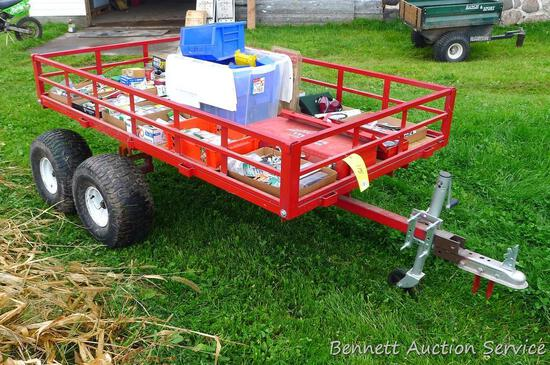 "Nice trailer has a 7' x 4' x 10-1/2"" deep bed. Tires hold air and show some wear but look like"
