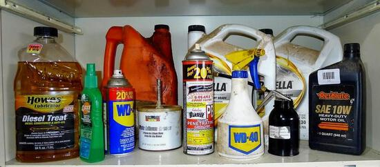No shipping. Partial containers of diesel treat, WD-40, bar & chain oil, SAE 30 engine oil, SAE 10W