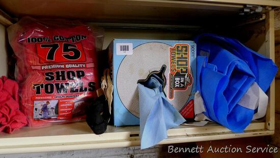 Partial box of Scott shop towels; partial bag of cotton shop towels and more.