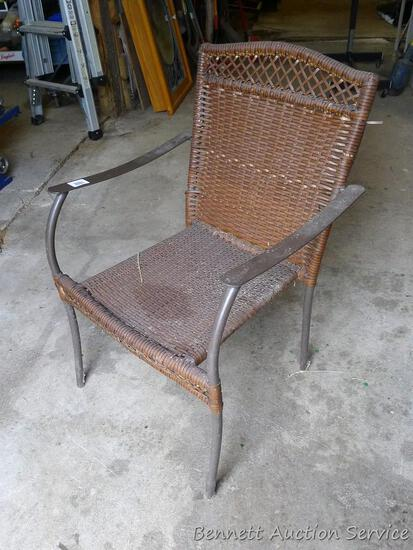 """Metal framed chair with webbing seat and back is 22-1/2"""" x 23"""" x 34"""" tall."""