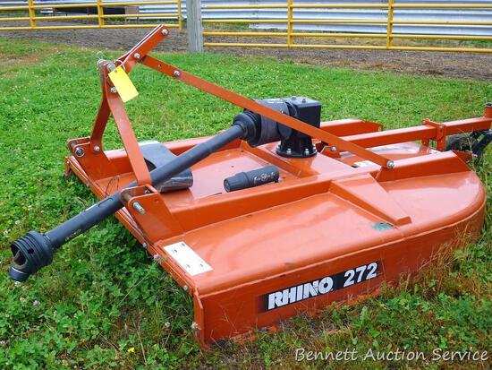 Rhino 272 brush mower with 6' cut. One small hole noted in upper deck, otherwise in good
