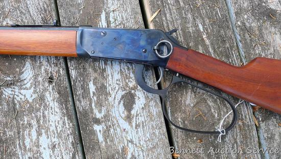 "Winchester Model 94AE lever action saddle ring carbine in .44 Magnum. 16"" barrel has a bright bore"