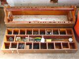 Wonderful carpenter's tool box with tray holds a variety of screws and nails. Box is about 38