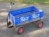 Wooden Pabst Beer wagon with removable sides. Bed is approx 35