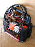 Mr. Heater propane gas heater will ship without the two side cylinders. Comes with two hoses; model