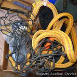 Tow rope, bungee cords, and several stretchy cargo nets for vehicles. Tow rope is around 170