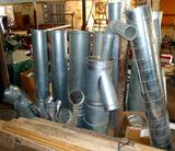 Locking pipe sections for a dust collector system or use in a sugarhouse. Eight lengths are about 5'
