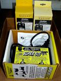 Super 505 electric fence energizer, appears to be new; two Zareba storm guard lightning modules