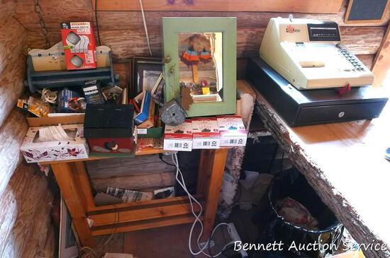 CRS 250 cash register, cute shelving unit with misc. office supplies, cute little medicine cabinet