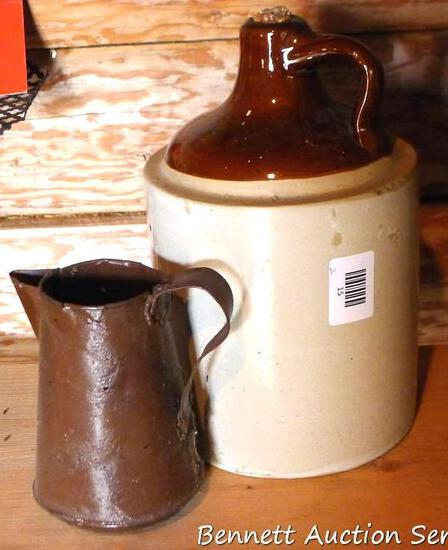 """Stoneware jug and small metal pitcher; jug measures 7"""" x 12"""" tall. Jug is in nice condition with"""