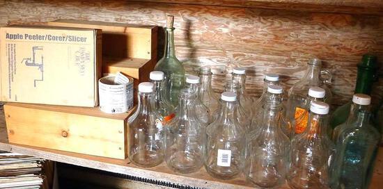 Quart sized bottles, 3 larger bottles, Pampered Chef Apple Peeler/Corer/Slicer and more.