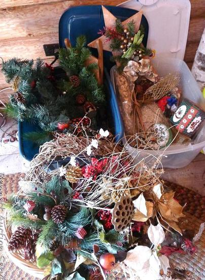 Wicker basket and 2 totes filled with Christmas floral, tins, wall hangings and more; basket