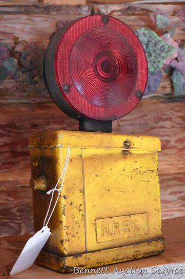 Vintage railroad lantern signal light with 2 sided red/green lens, base looks like it holds a