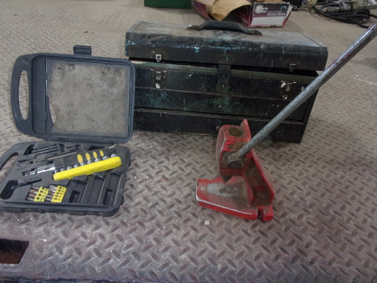RACHET SCREWDRIVER SET, TOOL BOX w/chisels, punches, & misc, OREGON CHAIN SAW PUNCH