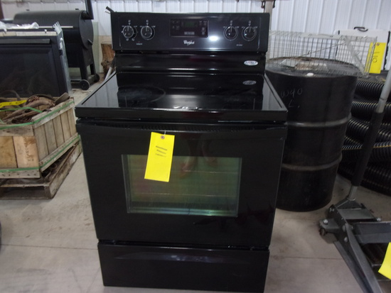 WHIRLPOOL SMOOTH TOP ELEC OVEN, black, works