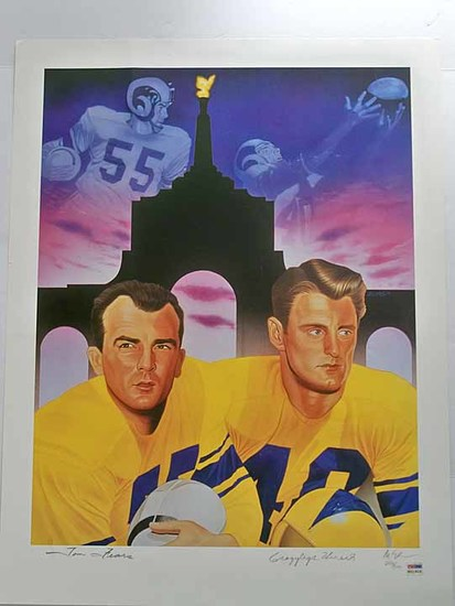 "Tom Fears and Elroy ""Crazy Legs"" Hirsch Limited Edition Lithograph Signed, PSA/DNA COA"
