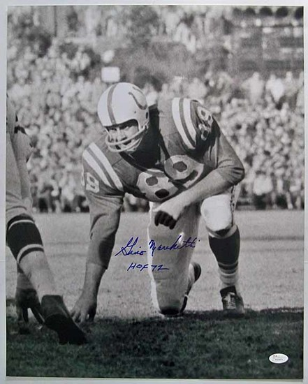 Gino Marchetti #89 Baltimore Colts, HOF '72 Autographed 16 x 20 Photograph, JSA