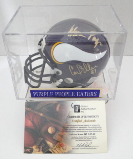 Purple People Eaters Signed Vikings Mini Helmet With Display Case & COA