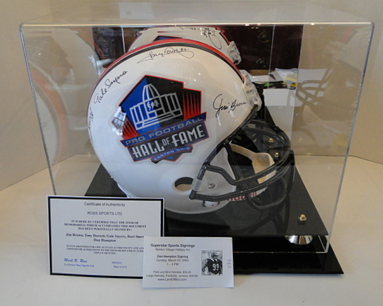 Full Size HOF Helmet W/ 5 Signatures; Brown, Dorsett Sayers, Starr, Hampton, Ticket, COA, Dis. Case