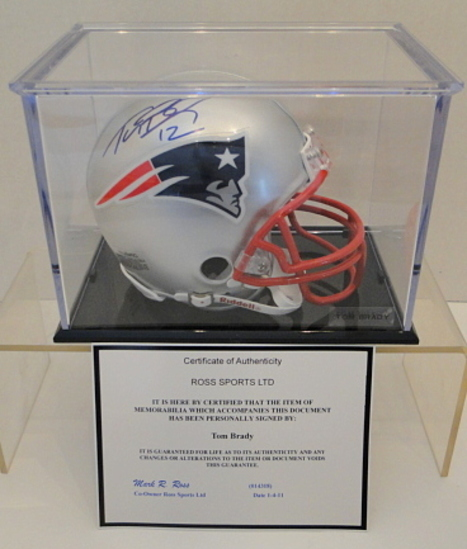 Tom Brady Signed Patriots Mini Helmet With Display Case, COA & Box
