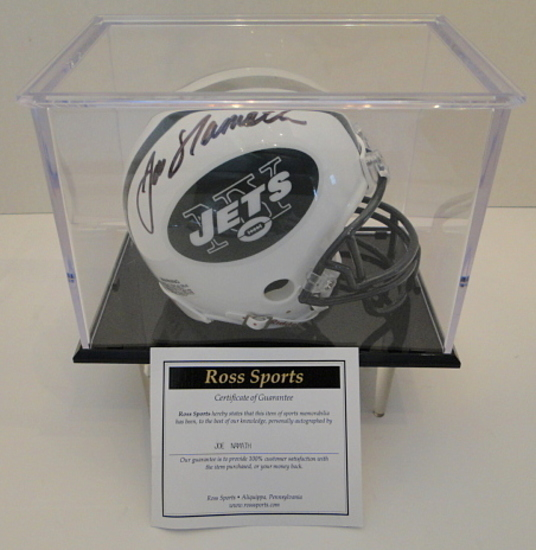 Joe Namath Signed Jets Mini Helmet With Display Case, COA